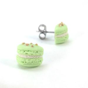 pistachio macaron studs by inedible jewelry