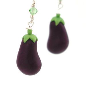 eggplant earrings by inedible jewelry
