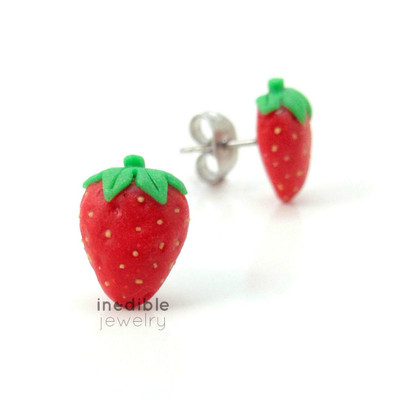 strawberry studs by inedible jewelry