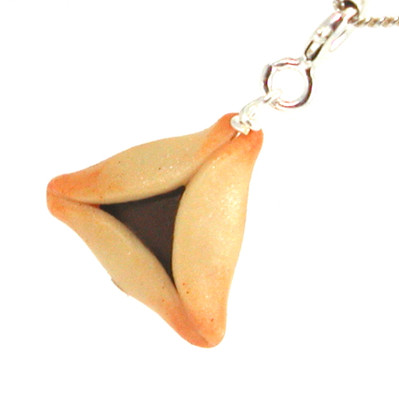 chocolate hamantash necklace by inedible jewelry