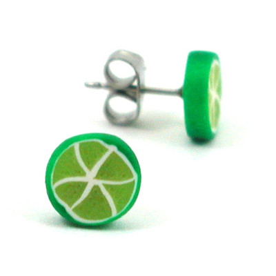 lime studs by inedible jewelry