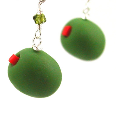 olive earrings by inedible jewelry