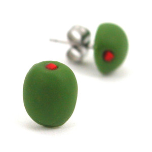 olive studs by inedible jewelry