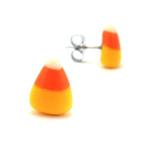 candy corn studs by inedible jewelry
