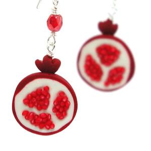 pomegranate earrings by inedible jewelry