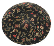 Black Flowers Brocade Kippah