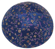 Blue Flowers Brocade Kippah