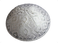 White & Silver Brocade Kippah