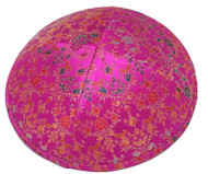 Pink Leaves Brocade Kippah