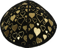 Gold Hearts Embossed Kippah