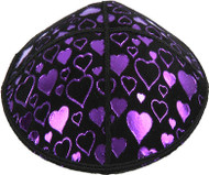 Purple Hearts Embossed Kippah