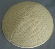 Pale Yellow Burlap Kippah