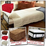 Ottoman Folding Bed Foldable Lounge Sofa Foot Stool with Invert Pleat Slip Cover + Casters (Red)