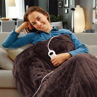 Electric Heated Throw Rug Snuggle Blanket 9 Smart Heat Settings + Timer Control (Chocolate Brown)