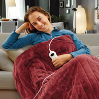 Electric Heated Throw Rug Snuggle Blanket 9 Smart Heat Settings + Timer Control (Burgundy)