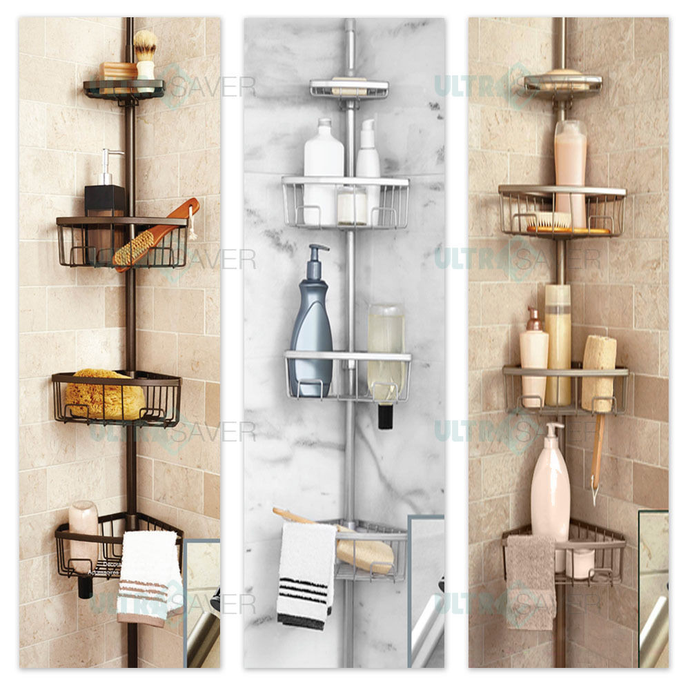 Luxury Telescopic Metal Spring Tension Pole 4 Shelf Corner