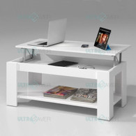 NEW Modern Lift Top Coffee Table Mechanical Lifting Convertible Interior Storage-WHITE