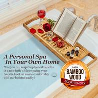 Expandable Bamboo Bath Caddy  Book iPhone Wineglass Holder Over Bathtub Rack