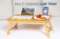 Bamboo Multi Tasking Laptop Bed Tray - Multi-Position Adjustable Tilt Surface - Pull Down Legs