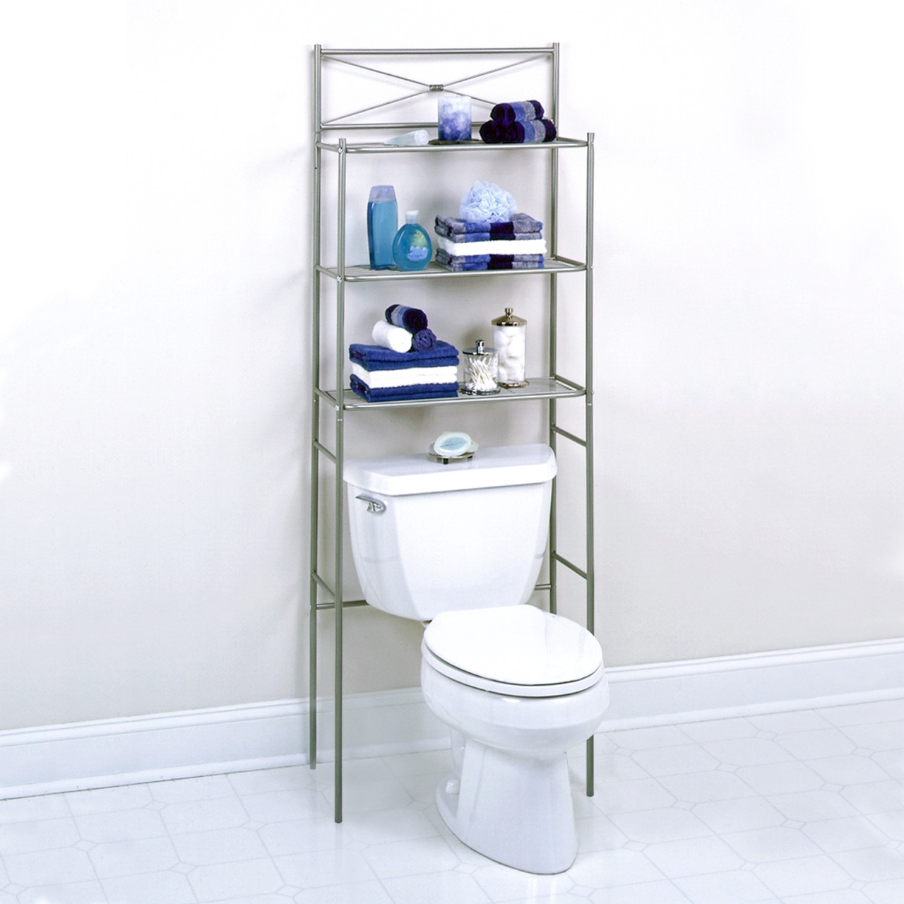 3 Shelf Over Toilet Bathroom Space Saver Towel Storage Rack