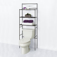 3 Shelf Over Toilet Bathroom Space Saver Towel Storage Rack Organizer-BLACK