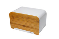 Bread Bin with Cutting Board Lid Steel Bread Box with Bamboo Lid, Loaf Container