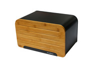 Bread Bin with Cutting Board Lid Steel Bread Box with Bamboo Lid, Loaf Container-Black