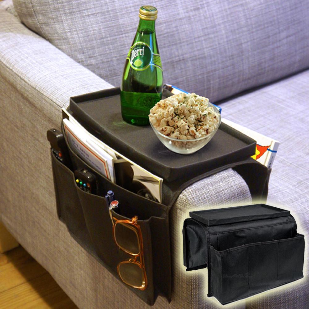 Pocket Arm Rest Organiser 6 Pocket Couch Sofa Tray Remote Holder