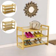 3 Tier Bamboo Shoe Rack Shoes Cabinet Storage Organiser incline adjustable level