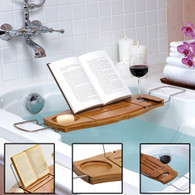 Bathroom Bamboo Bath Caddy Stainless Steel with Extendable Arms Fit Over Baths