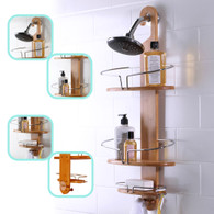 Bathroom Bamboo Shower Caddy Stainless Steel with Hang Hook Shower Organiser