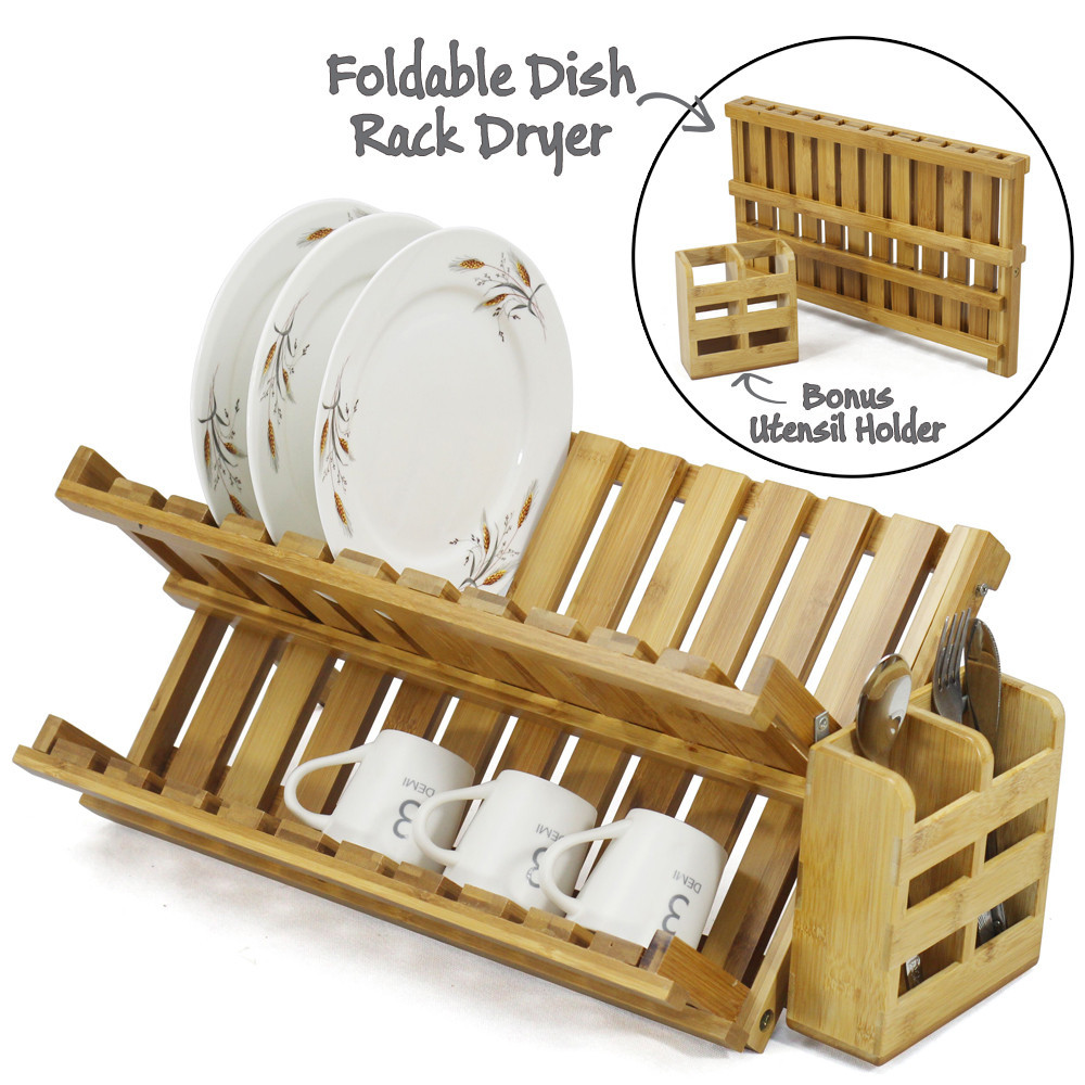 Bamboo Dish Drying Rack.Foldable Bamboo Dish Drying Rack Plate Cup Drainer Tray Utensil Cutlery Holder