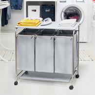 Laundry Hamper 3 Washing Basket Bag Sort + Ironing Board Trolley Clothes Storage (Grey)
