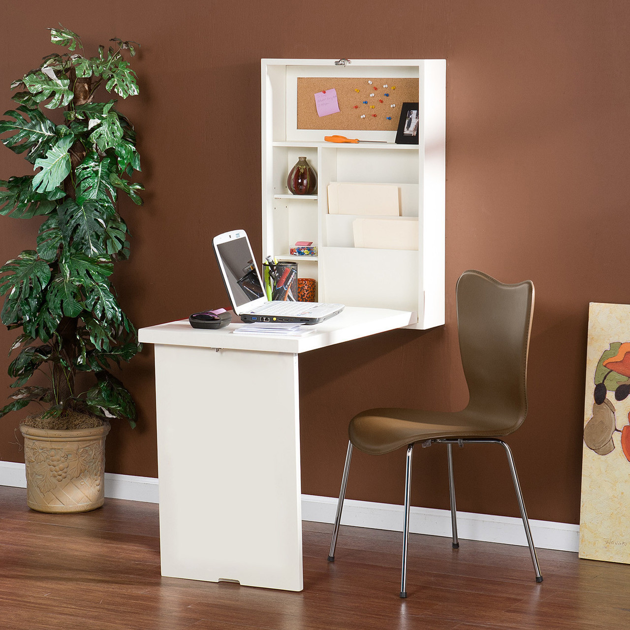 Wall Mount Fold Out Convertible Desk Computer Desk Laptop Writing Desk Shelf White Ultrasaver
