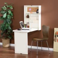 Wall Mount Fold Out Convertible Desk Computer Desk Laptop Writing Desk Shelf (White)