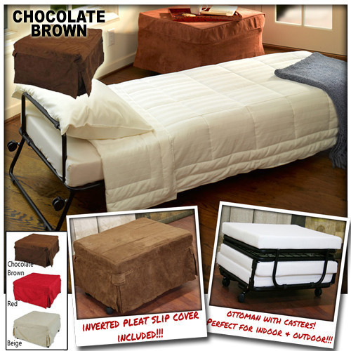 Sensational Ottoman Folding Bed Foldable Lounge Sofa Foot Stool With Invert Pleat Slip Cover Casters Chocolate Brown Pabps2019 Chair Design Images Pabps2019Com