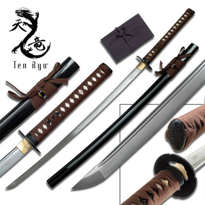 Ten Ryu HAND FORGED SAMURAI SWORD (BROWN CORD)