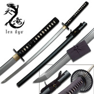 Ten Ryu HAND FORGED SAMURAI SWORD ( BLACK SPLATTER SCABBARD)