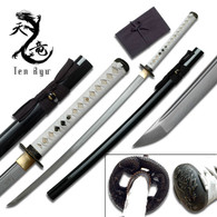 Ten Ryu HAND FORGED SAMURAI SWORD (WHITE LEATHER Cord)
