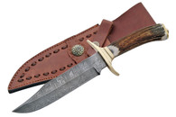 "11"" BRASS GUARD DAMASCUS BOWIE KNIVE"