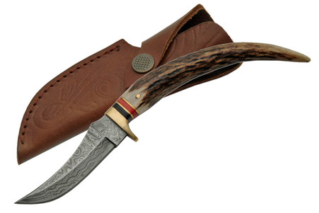 """8"""" DAMASCUS STAG TIP KNIVE"""