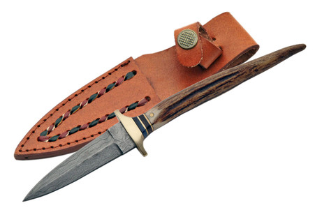 """8"""" DAMASCUS STAG BOOT KNIVE"""