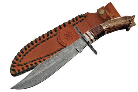 """DAMASCUS 13 1/2"""" CROWN BOWIE KNIVE"""