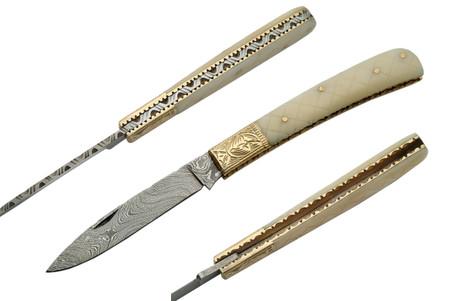 "BONE 4.75"" HANDMADE DAMASCUS FOLDING KNIFE"