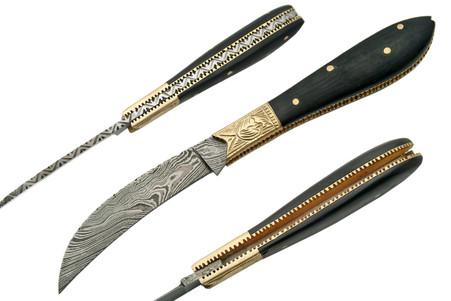 """HORN 4"""" HANDMADE DAMASCUS FOLDING KNIFE"""