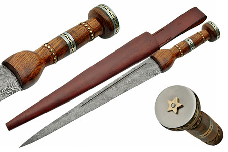 "20""DAMASCUS DIRK STAR BUTTED WOOD HANDLE"