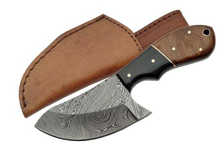 """WALNUT 6.5"""" DAMASCUS CAT SKINNER KNIFE"""