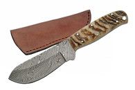 "8.5"" DAMASCUS RAM HORN BIG GAME SKINNER"