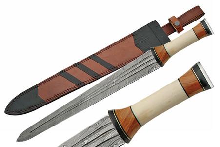 "24"" DAMASCUS SWORD WITH BONE HANDLE"