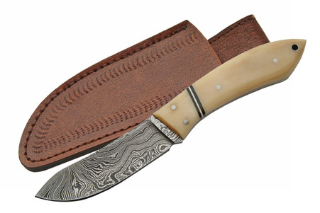 "7"" DAMASCUS CAT SKINNER BONE HANDLE"
